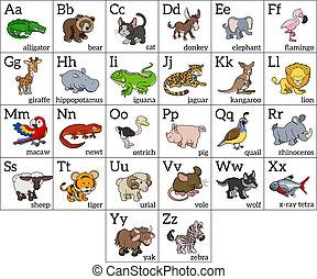 alfabet, spotprent, dier, tabel