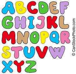 alfabet, spotprent