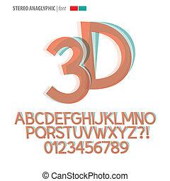 alfabet, stereo, vector, cijfer, anaglyphic