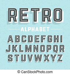 alfabet, stijl, retro