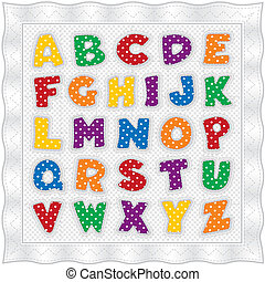 alfabet, stikken, polka punten, gingham