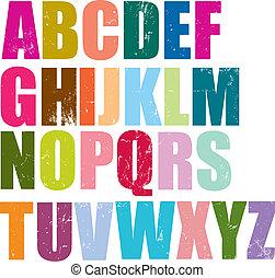 alfabet, stil, boktryck