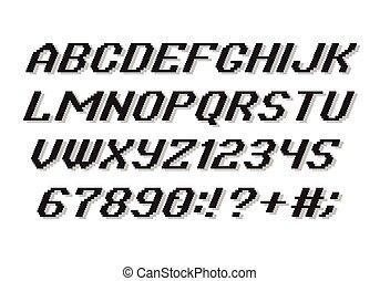 alfabet, styl, pixel