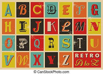 alfabet, styl, retro