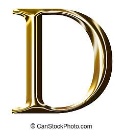 alfabet, symbool, d, goud