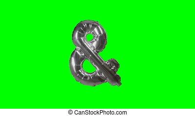 alfabet, symbool, meldingsbord, groene, en-teken, zwevend, helium, scherm, zilver, balloon