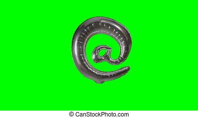 alfabet, symbool, meldingsbord, groene, groot, zwevend, helium, scherm, zilver, balloon