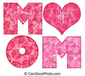 alfabet, szczęśliwy, dzień, mamusia, matczyny
