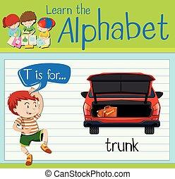 alfabet, t, flashcard, trunk
