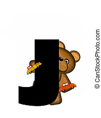 alfabet, teddy, geleider, auto's, j
