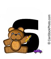 alfabet, teddy, geleider, auto's, s