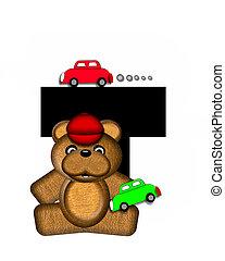 alfabet, teddy, spelend, auto's, t