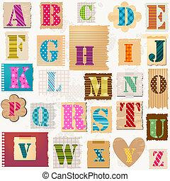 alfabet, textured