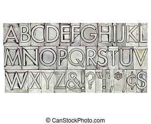 alfabet, type, metaal