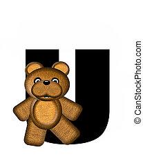alfabet, u, teddy