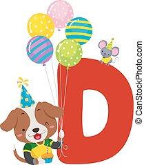 alfabet, urodziny, pies, ilustracja