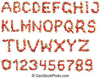 alfabet, van, aardbeien
