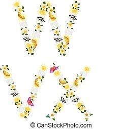 alfabet, van, bloemen, en, vlinder