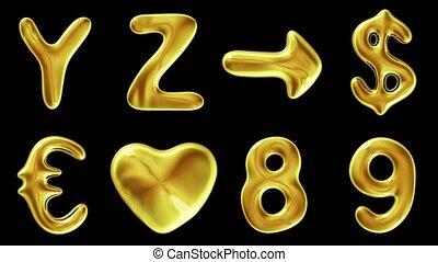 alfabet, van, goud, vrijstaand, op, black , achtergrond.