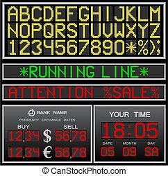 alfabet, vector, elektronisch