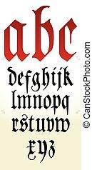 alfabet, vector, gotisch, font.