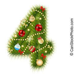 alfabet, vector, kerstmis, illustratie, getal