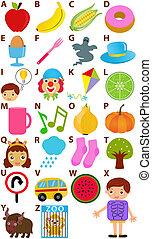 alfabet, vector, -, z, woordenboek