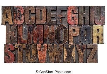 Alfabet, ved, typ, boktryck