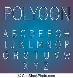 alfabet, veelhoek, getallen
