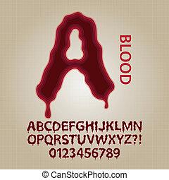 alfabet, vektor, blod, röd numererar