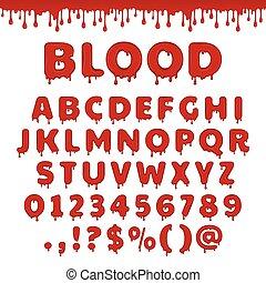 alfabet, vektor, latin, blodig