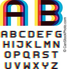 alfabet, vervorming, verdoezelen, brieven, eps10, lettertype