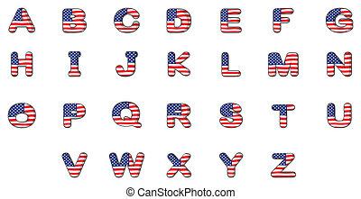 alfabet, vlag, brieven, amerikaan