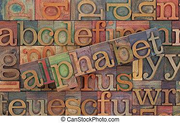 alfabet, w, rocznik wina, drewno, typ