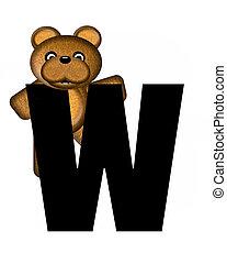 alfabet, w, teddy