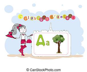 alfabet, wektor, francais., francuski, alfabet