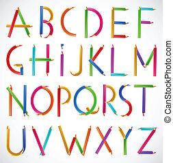 alfabet, wektor, pencils., barwny