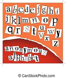 alfabet, witte , -, clippings, anoniem