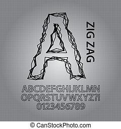 alfabet, zig, vektor, svart, numrerar, zag