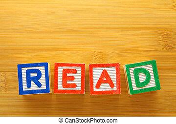 alfabetblok, spellen, de, woord, lezen