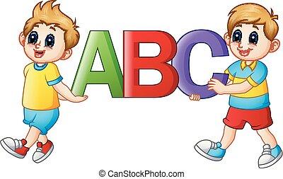 alfabeti, bambini, cartone animato, presa a terra