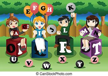 alfabeti, bambini, cultura