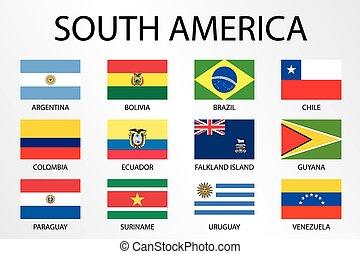 alfabetico, paese, bandiere, america, continente, sud