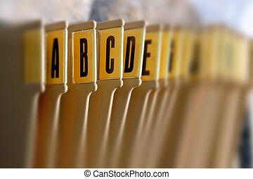 alfabetisk, bricka, filning