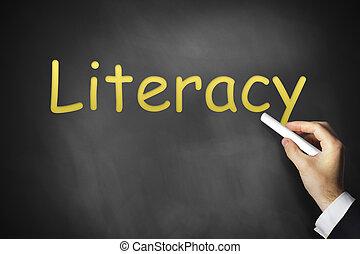 alfabetismo, mano, negro, pizarra, escritura