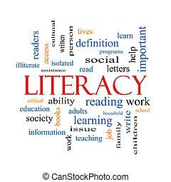 alfabetismo, palabra, nube, concepto