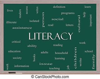 alfabetismo, palabra, nube, concepto, en, un, pizarra