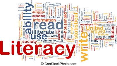 alfabetismo, plano de fondo, concepto