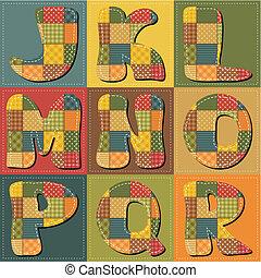 alfabeto, álbum de recortes, labor de retazos