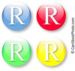 alfabeto, ícone, r, letra, inglês
